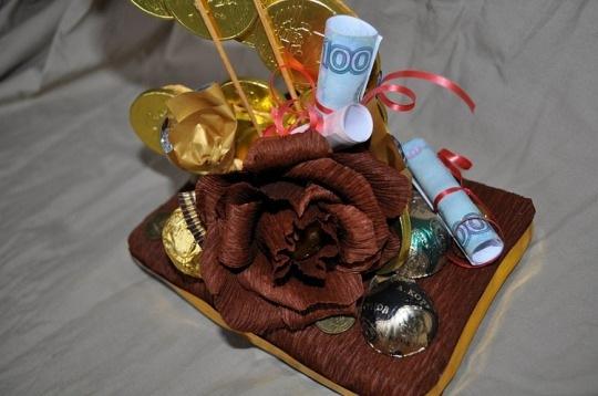 Подарок на свадьбу оригинальный фото из конфет и денег