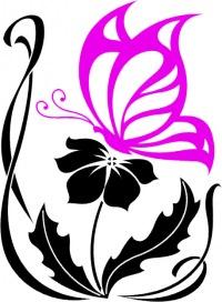 ...я решил ее слегка обрезать - в итоге будет только бабочка и сам цветок (его лепестки). update: рисунок готов.