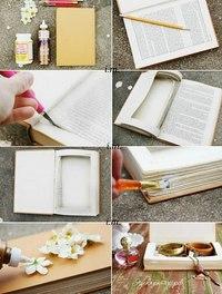 Тайник из книги/ежедневника своими руками.  P.S.если жалко портить старую книгу, можно это сделать из старого...