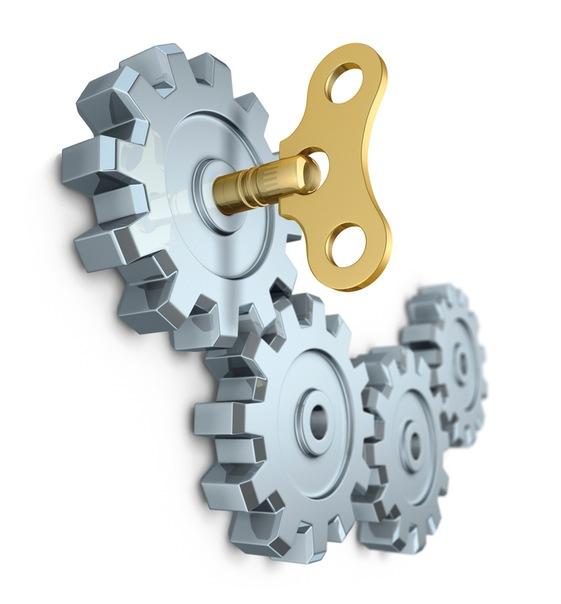 Clockwork key - Стоковая фотография.