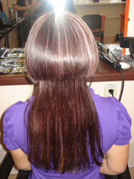 Стрижки двойное каре на длинных волосах