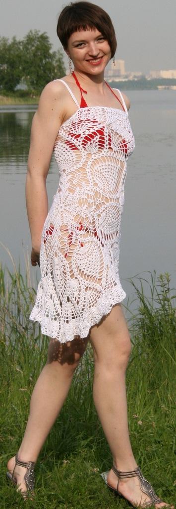 Ярмарка Мастеров - ручная работа Вязаное пляжное платье.
