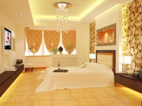 Спальня в тёплых тонах (2 фото) - картинка