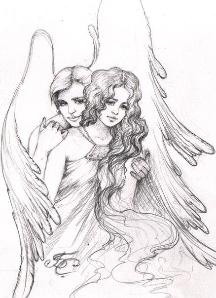 рисунки простым карандашом ангелы: