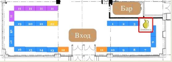 Схема расположения Рождественской ярмарки в Бизнес Парке Аврора