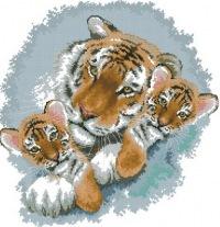 К году тигра!  Два тигренка и мама-вышивка.