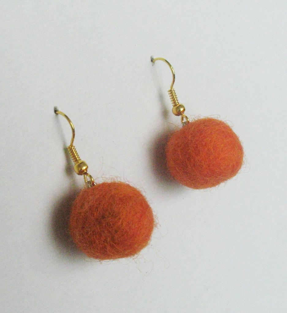 серьги апельсинки фетровые
