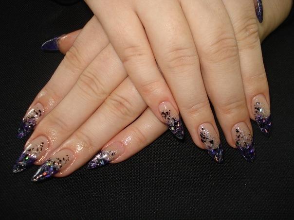 Дизайн ногтей френч блёстки