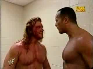 Chris Jericho and The Rock argue and brawl backstage