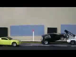 Stop motion - Car police chase.