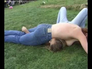 Teen girl wrestling older girl in topless outdoor