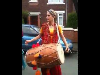 Punjabi Girl With Dhol on Rihanna