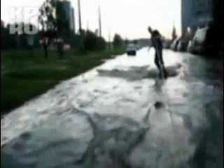 Серфинг во время потопа в Санкт-Петербурге