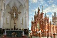 """Кафедральный Римско-католический Собор Непорочного Зачатия Пресвятой Девы Марии.  От ст. м.  """"ул. 1905 года """" ."""