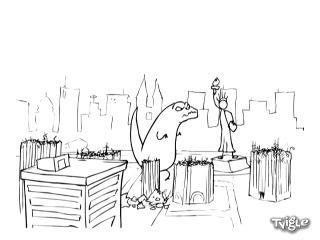 Годзила против статуи Свободы