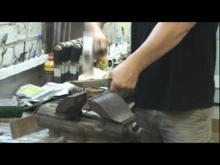 Рубка гвоздя 4mm дамасским ножом ЗЗОСС