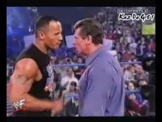 The Rock Saves Trish. Beats Vince
