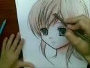 Как рисовать манга-девочку акварельными карандашами!