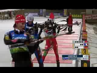 Биатлон Чемпионат мира 2009. эстафета.женщины.Победный финиш сборной России