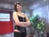 Tall Asian Woman wrestling man