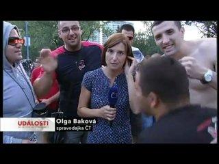 Сербы в Братиславе, опять издеваются над репортером )