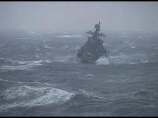 Шторм 9 баллов в Баренцевом море эсминец Адмирал Ушаков