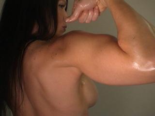 Girl flex biceps