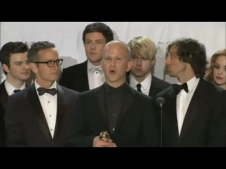 The cast of Glee press conference after winning at GoldenGlobe Awards 2011