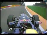 F1 Belgian GP Spa 2011 Race - M. Webber passes F. Alonso on Eau Rouge