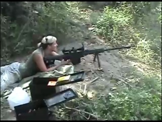 Hot chick shooting the Barrett .50 Cal