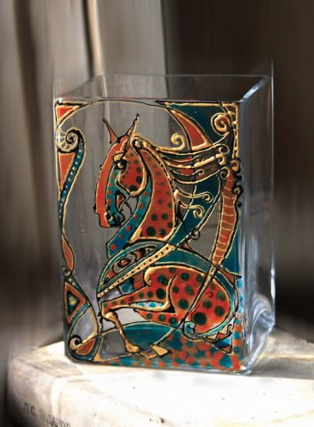 ваза квадратная 14 -10см. витражные краски Nerchau...