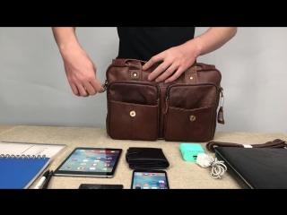Кожаная мужская сумка + Часы в Подарок!