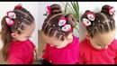 Penteado Infantil de redinha com ligas e Maria Chiquinha ou Coques