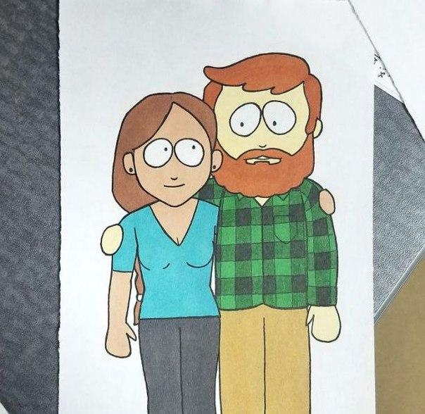 Парень нарисовал себя и девушку в стиле 10 разных анимаций