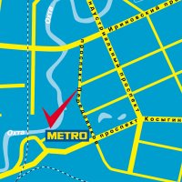 карта города Санкт-Петербург, магазин Метро (Косыгина проспект).  Схема проезда к магазину Метро.