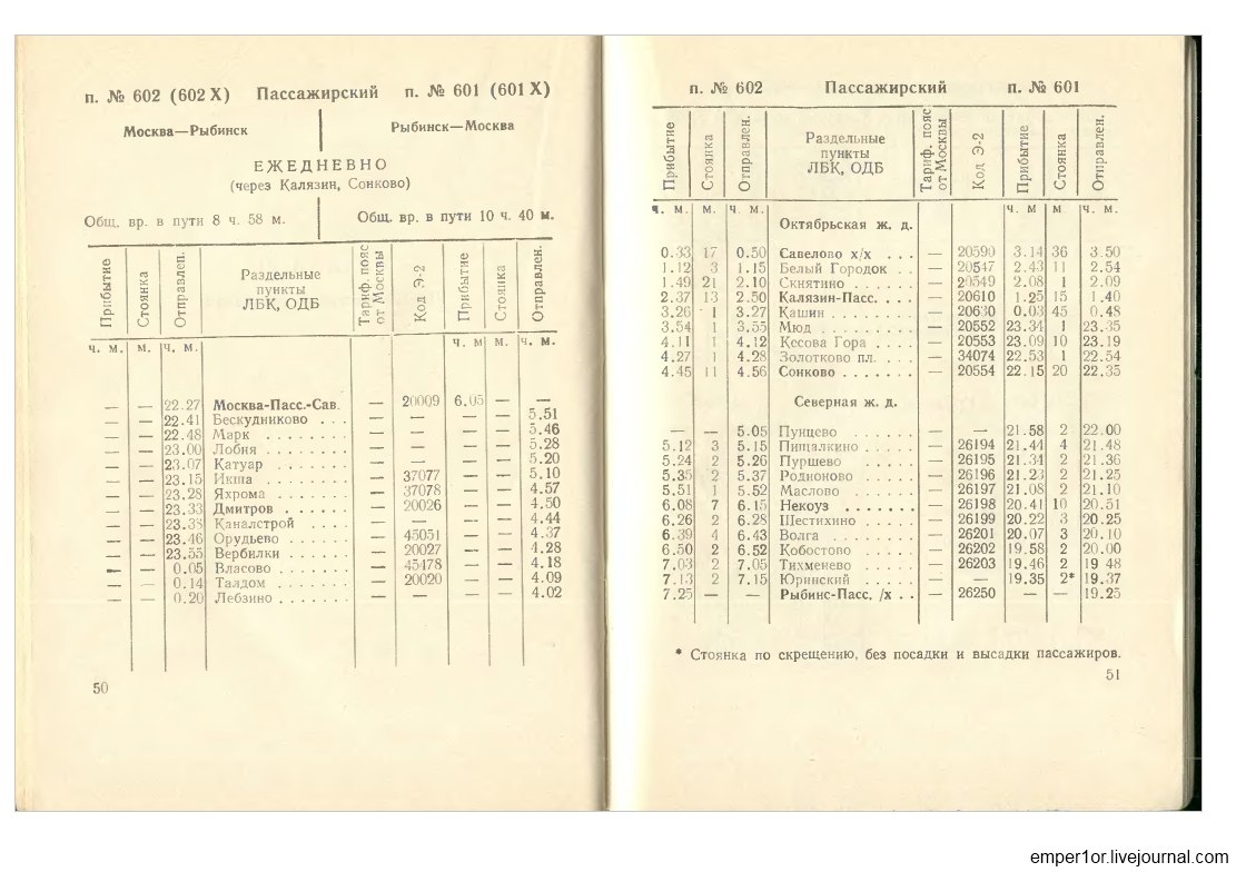 Служебное расписание пассажирских поездов на Савеловском направлении(Ретро) SZsruvpUxXY