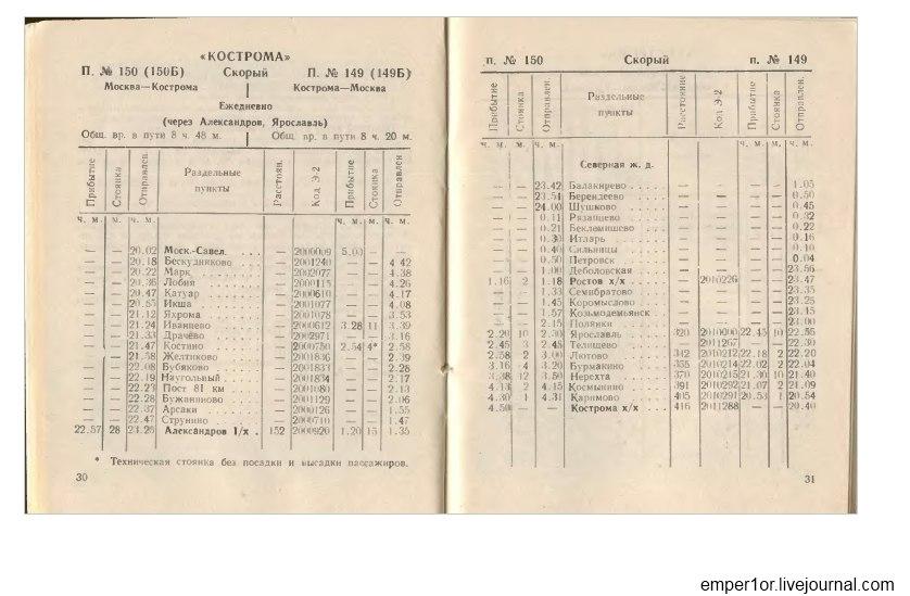 Служебное расписание пассажирских поездов на Савеловском направлении(Ретро) -1wGolZopSE