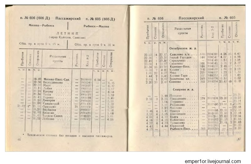 Служебное расписание пассажирских поездов на Савеловском направлении(Ретро) 99viTwQxMu4