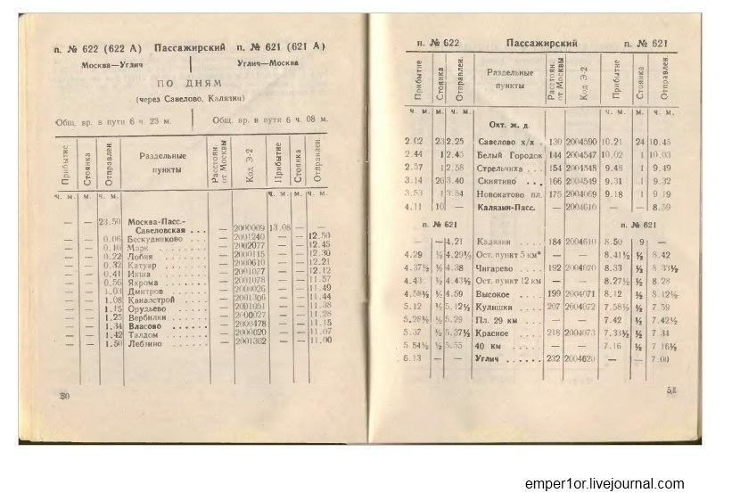 Служебное расписание пассажирских поездов на Савеловском направлении(Ретро) WocfrVQPKO4