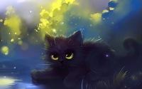 Обоя под названием рисунок, кошка, кот, котэ, пушистый, трава.