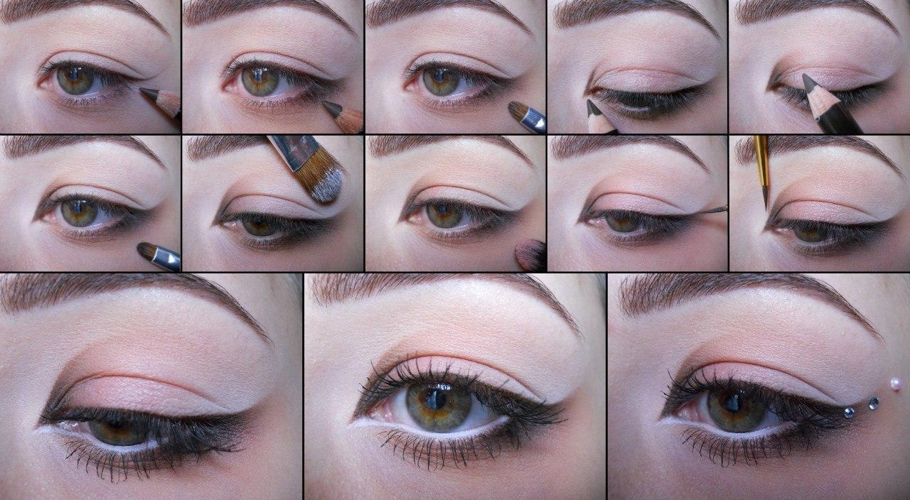 Дневной макияж для карих глаз с пошаговым 42
