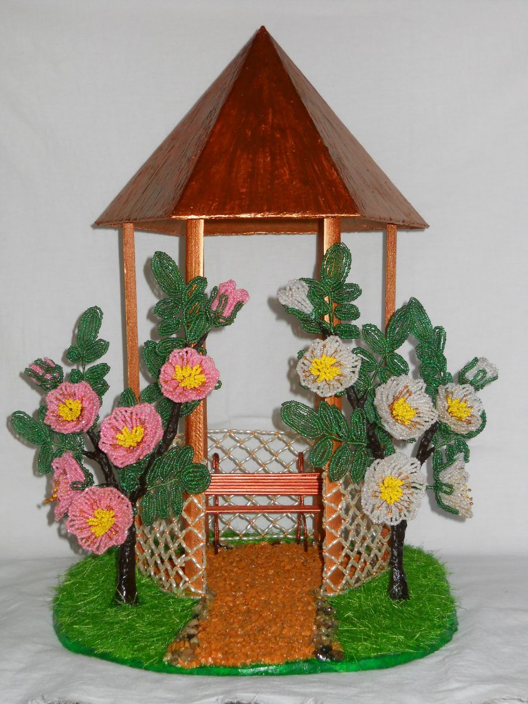 Пошаговое фото домик из бисера