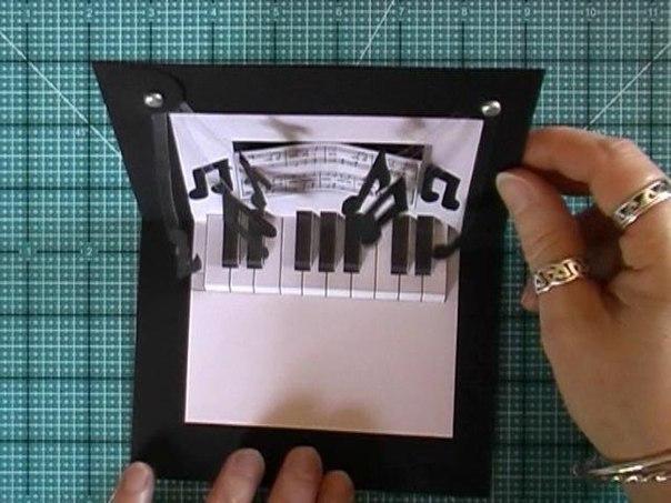 Открытка рояль своими руками видео