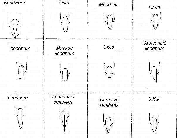 Виды форм ногтей
