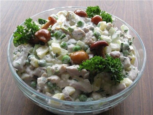 рецепты салата с грибами