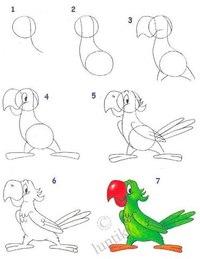 А давайте рисовать?Сегодня мы по фото будем рисовать попугая и динозаврика.Это очень легко.Нужно только ластик и...