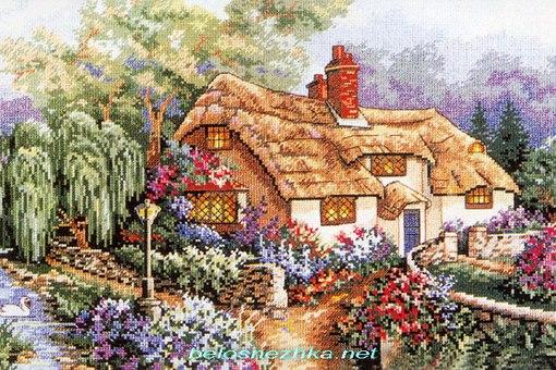 Маленький домик в цветах.  Вышивка крестом, схемы.
