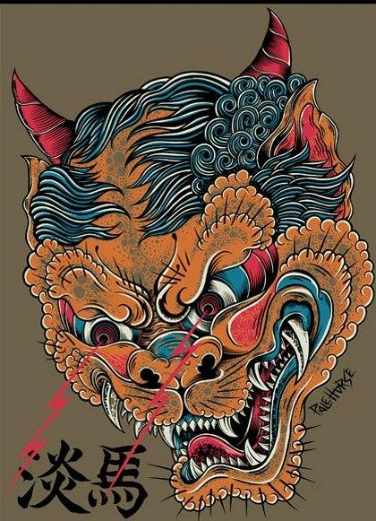 Лев на японском тату