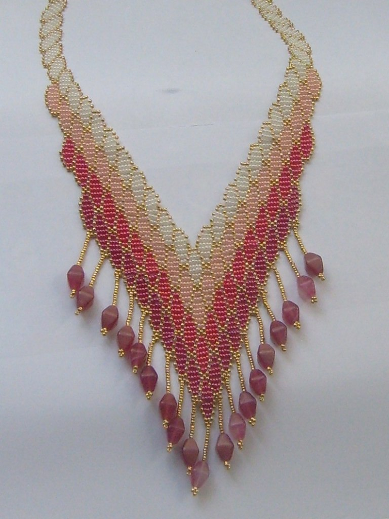 """Ожерелье  """"Северное сияние """". бисер, ажурное низание, продается.  Ожерелье  """"Янтарное """" . бисер, мозаичное плетение..."""