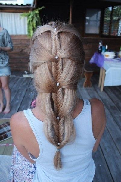 Легкая но красивая прическа на длинные волосы